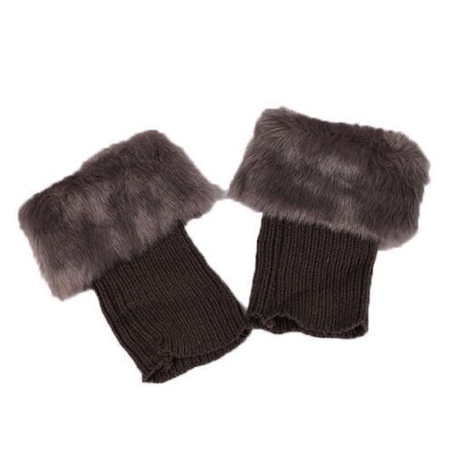 Women/'s Knit Socks Winter Leg Warmers Fluffy Fur Cuffs Toppers Ankle Boots Socks