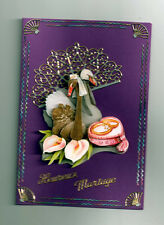 3D Glückwunschkarte zur Hochzeit,Grußkarte,lila,Schwäne,K4
