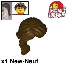 Lego 1 x Minifig Dark Stone Grey Hair Female Ponytail Long French Braided