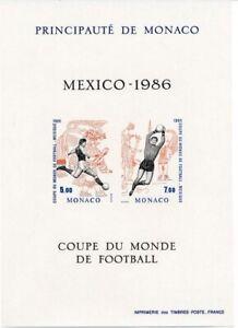 """Bon CœUr Monaco 1986; """"football Coupe Du Monde"""" Spécial Bloc Tamponné **/neuf Sans Charnière, Yvert 35 A, 235 €"""