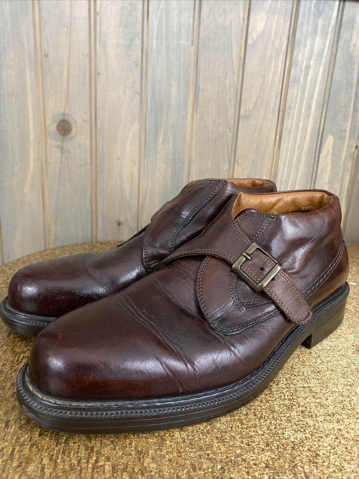 Vintage Johnston & Murphy Aristocraft Monk Strap Loafer Buckle Boots 9.5 M Italy