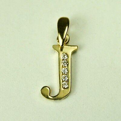 Nice 14K solid yellow gold initial 'J' charm pendant 10x5mm, 0.4 gram