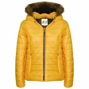 Kids Girls Jackets Mustard Puffer Padded Quilted ...
