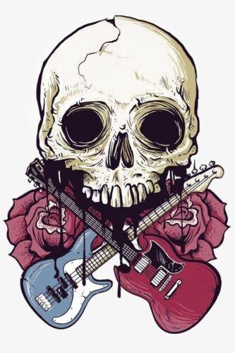 "3"" Guitar Music Skull Rock Roll Jam Band Blue Red Roses Dead Cool Sticker"