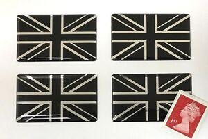 4-x-Union-Jack-Flag-Stickers-Super-Shiny-Domed-Finish-Black-amp-Chrome-50mm