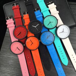 Unisex-Damen-Herren-Uhr-Canvas-Kunst-Leder-Armbanduhr-Analog-Quarz