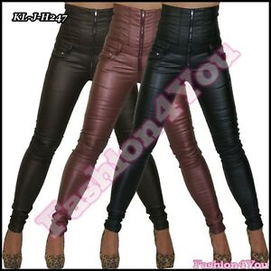 Sexy-Women-039-s-High-Waist-Faux-Leather-Trousers-Ladies-Skinny-Size-6-8-10-12-14-UK