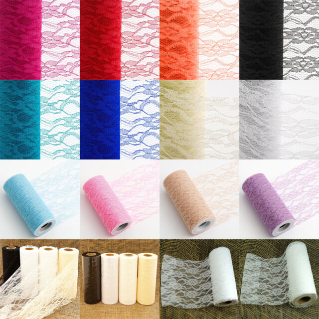 """10pcs 10Yards 6"""" Lace Net Roll Runner Mesh Chair Sash Wedding Party Table Decor"""