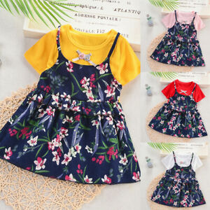 Toddler-Baby-Kids-Girls-Ruched-Ruffles-Floral-Flowers-Princess-Dresses-Clothes