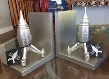 Retro Silver Atomic Space Ship Rocket Man On The Moon Bookends NIB Hard To Find