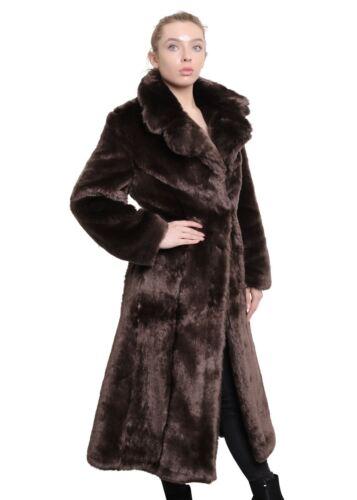 DE La Creme-donna Lusso Pelliccia Sintetica Mix Grande bavero Cappotto Lungo Donna