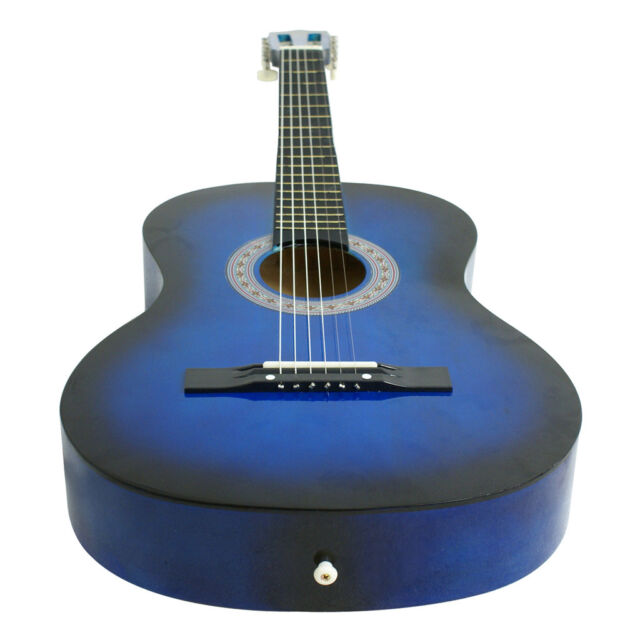 ZENY 38 Inch Beginners Practice Blue Acoustic Guitar With Pick 6 ...