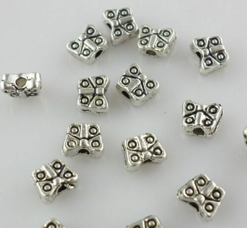 80//240pcs Tibetan Silver mini Butterfly Charm Loose Spacer Beads 2*5mm
