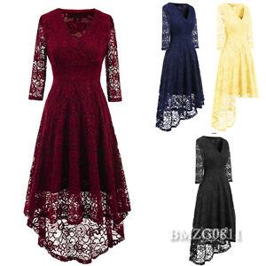 Dame-3-4-Armel-V-Ausschnitt-Abendkleider-Cocktail-Spitzenkleid-Hochzeit-Kleid