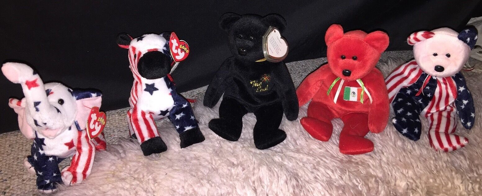 Ty Beanie Babies Lot of 5 Lefty, Righty, The End, Osito, Spangle