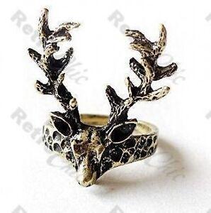 QUIRKY-vintage-brass-STAG-HEAD-deer-ANTLER-RING-kitsch-emo-punk-GOTH-elk-antlers