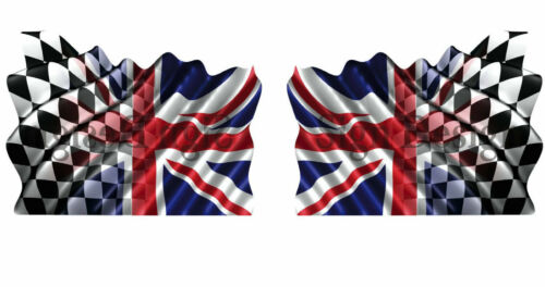 2 UNIQUE UNION JACK//CHEQUERED FLAGS 150mm x 90mm  STICKERS GRAPHICS