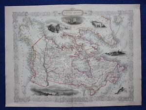 Details about Antique atlas map BRITISH AMERICA, CANADA, RARE BOSTON  VIGNETTE, Tallis, 1849