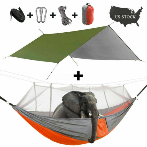 2 Person Outdoor Camping Hammock With Mosquito Net Mesh+Rain Fly Tarp Cover