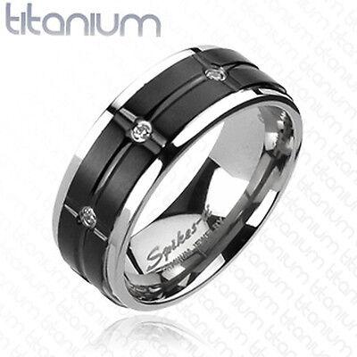Titanium Grooved Black IP Center Multi CZ Wedding Band Mens Ring