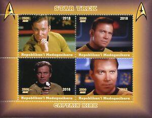 Madagascar 2018 MNH Star Trek Captain Kirk William Shatner 4v M/S Movies Stamps