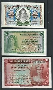 Trio-3-Billetes-1-2-5-Pesetas-1935-1938-Plancha-De-Tacos