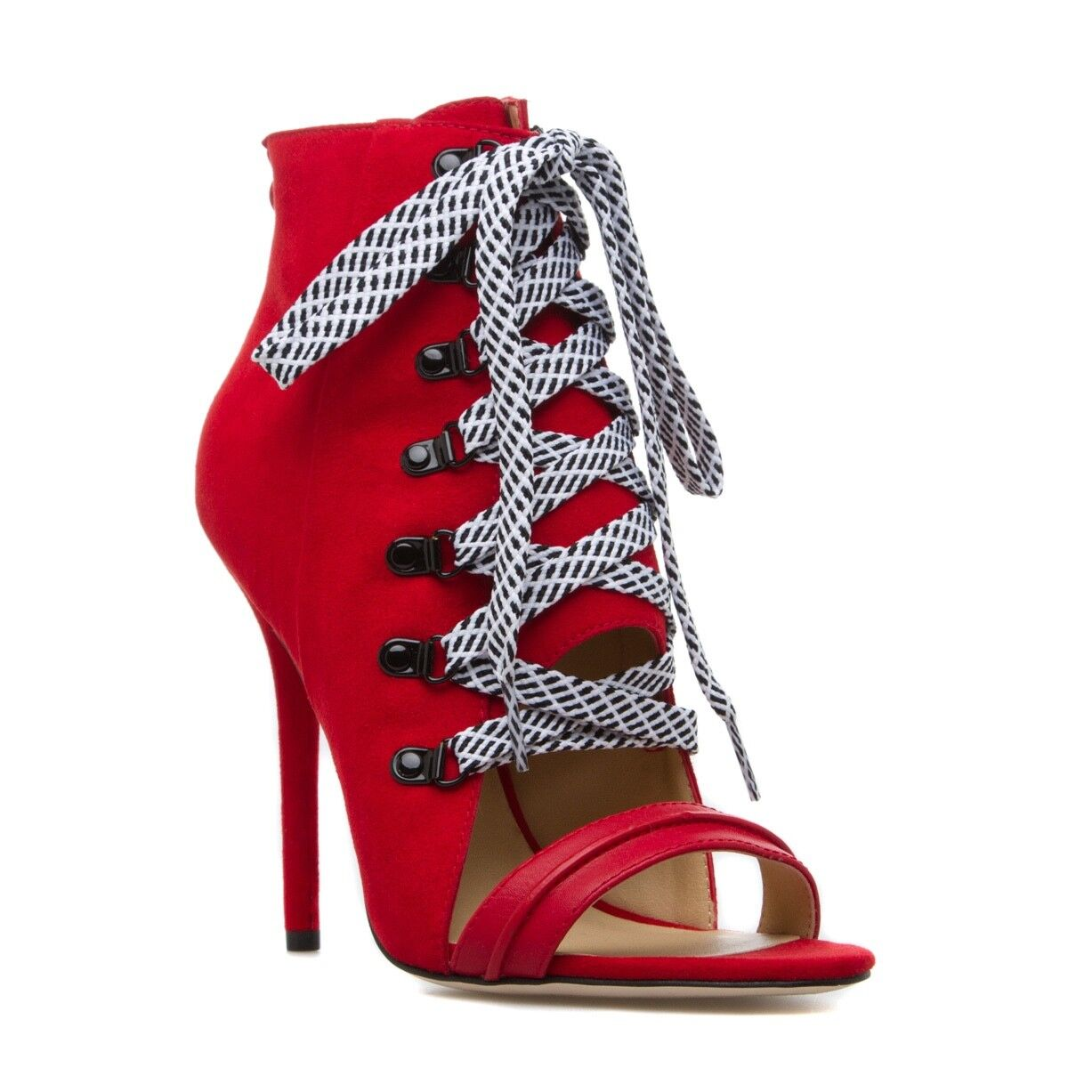 NEW Sexy Leather Peep-Toe avvioie by Gwen Stefani w  Laces & Back Zip Dimensione 7.5