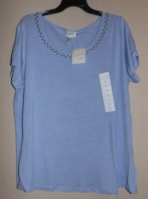 NEW NWT Jaclyn Smith Scoop-Neck Baby Blue Blouse PLUS 1X W Wide FREE SHIPPING