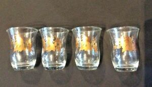 RETRO-SHOT-CORDIAL-GLASSES-CLEAR-w-GOLD-GRAPES-amp-LEAVES-VINTAGE-SET-OF-4-HTF