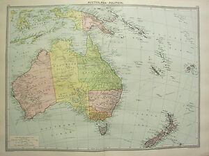 1920 LARGE MAP ~ AUSTRALASIA POLITICAL NEW ZEALAND NEW GUINEA AUSTRALIA TASMANIA