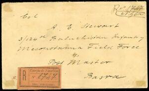 EDW1949SELL-PORTUGAL-INDIA-Rare-1921-Registered-cover-to-Iraq-Mesopotamia