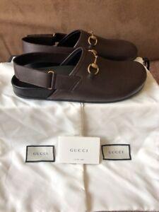 73ba4672a94 New Men s Gucci River Horsebit Brown Leather Slipper Slide Loafers ...