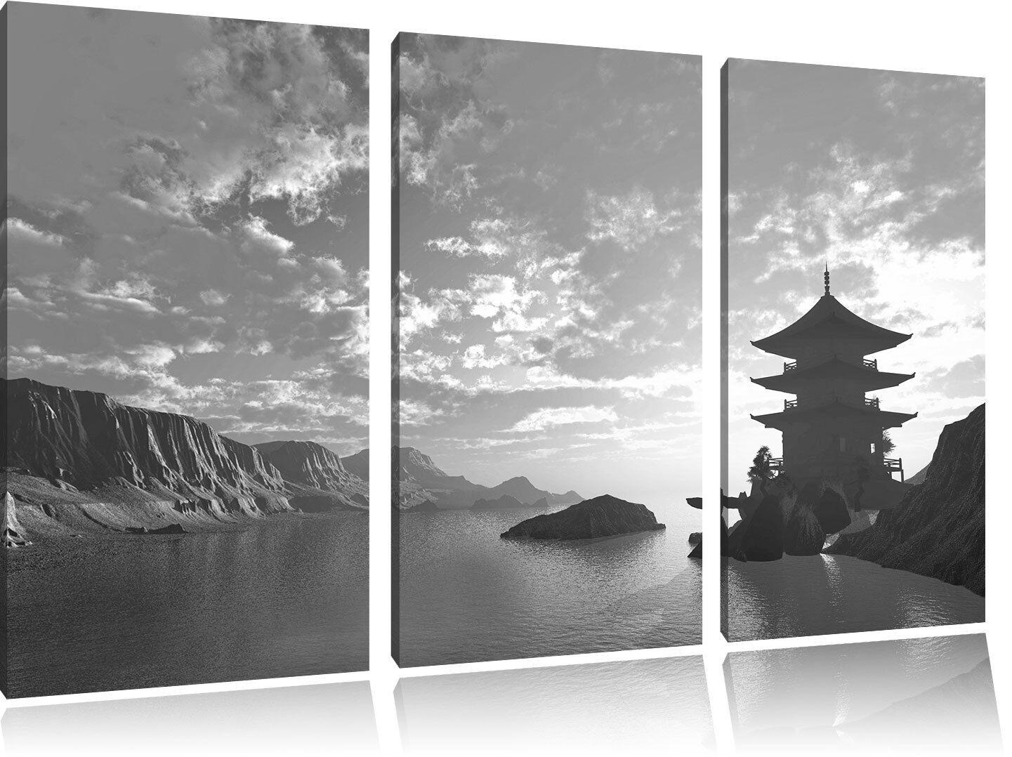 Bezaubernder Tempel in großem Tal Kunst B&W 3-Teiler Leinwandbild Wanddeko Kunst