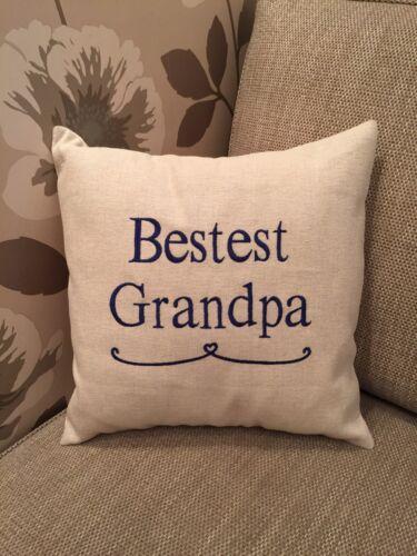 Laura Ashley Natural Austen Fabric BESTEST GRANDPA Cushion Cover Embroidered