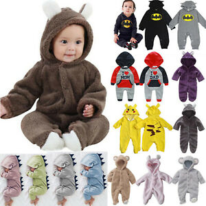 Baby Kids Boys Cute Hooded Tracksuit Winter Babygrow Jumpsuit Playsuit Romper