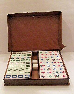 Bamboo Beautiful Mah Jong Set in Leather book Box*144 Tiles Tiles