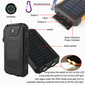 Impermeable Solar Power Bank Cargador portátil USB 100000mAh batería para móvil