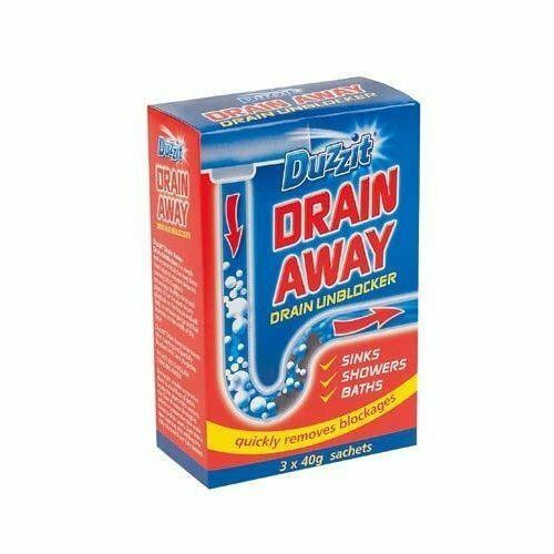 Duzzit Drain Away - 3 x 40g Sachets Drain, Bath, Shower, Sink Unblocker