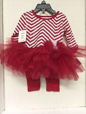 Blueberi Boulevard Girls Christmas Outfit Candy Cane Tutu Pants Set 24 Months