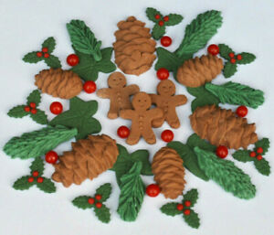 Edible-Christmas-cake-gingerbread-men-holly-edible-pine-cones-spruce-and-ivy