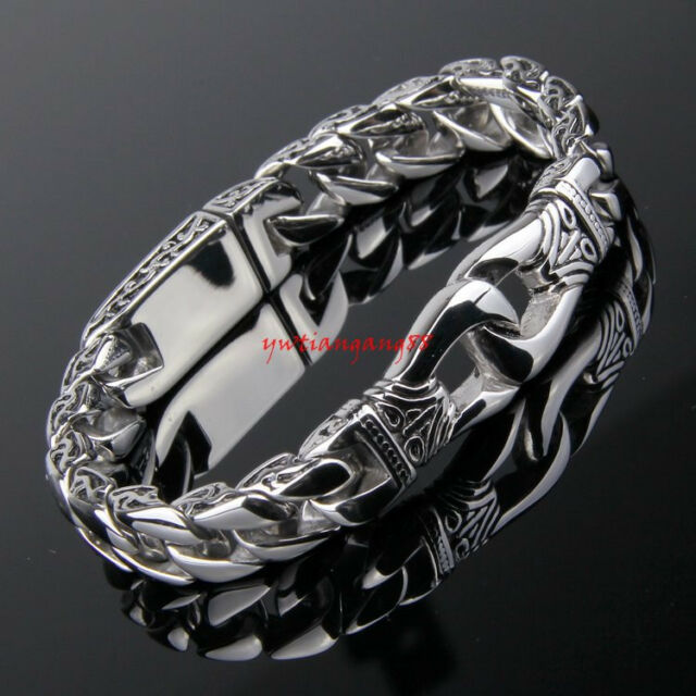 "Fashion Men's Jewelry Stainless Steel Silver Chain Bracelet 8.66"" 11mm"
