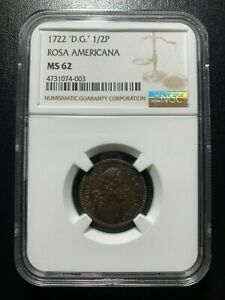 1722-D-G-1-2P-Rosa-Americana-NGC-MS62-Halfpenny-EAC-Colonial-Copper-FINEST-KNOWN