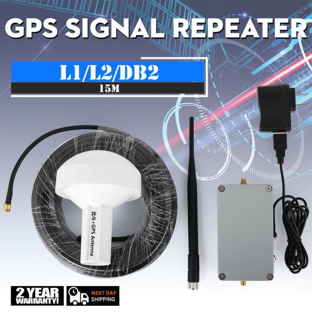 GPS Signal Repeater Amplifier Transfer L1 L2 DB2 Full Kit Distance 15 Meter USA