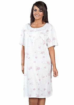 New Ladies Womans Plus Size Floral Short Sleeve Jersey Nightdress Nightie.10-36 Und Verdauung Hilft
