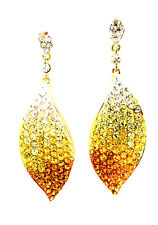 USA Swarovski ELMT crystal EARRING prom Leaf Dangle Yellow Gold Curve Statement