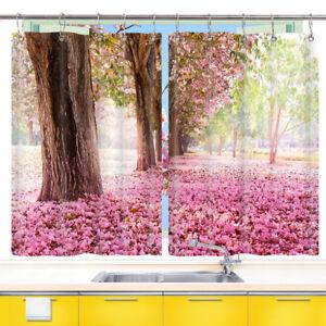 2 Panels Pink Cherry Blossom Window Curtain Treatments Kitchen Curtains Ebay