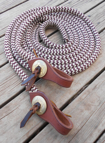 6FT SPLIT REINS with SHAPED WATER STRAPS and CONCHOS 17 colours available