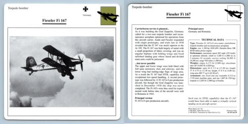 Torpedo Bomber Fieseler Fi 167 Warplanes Collectors Club Card