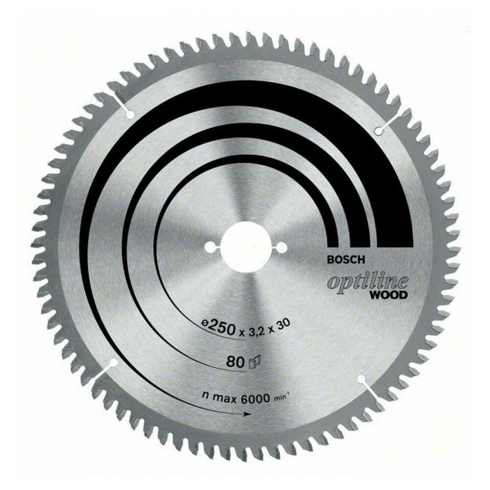 Bosch Kreissägeblatt Optiline Wood für Kapp- und Gehrungssägen, 254 x 30 x 3,2 m