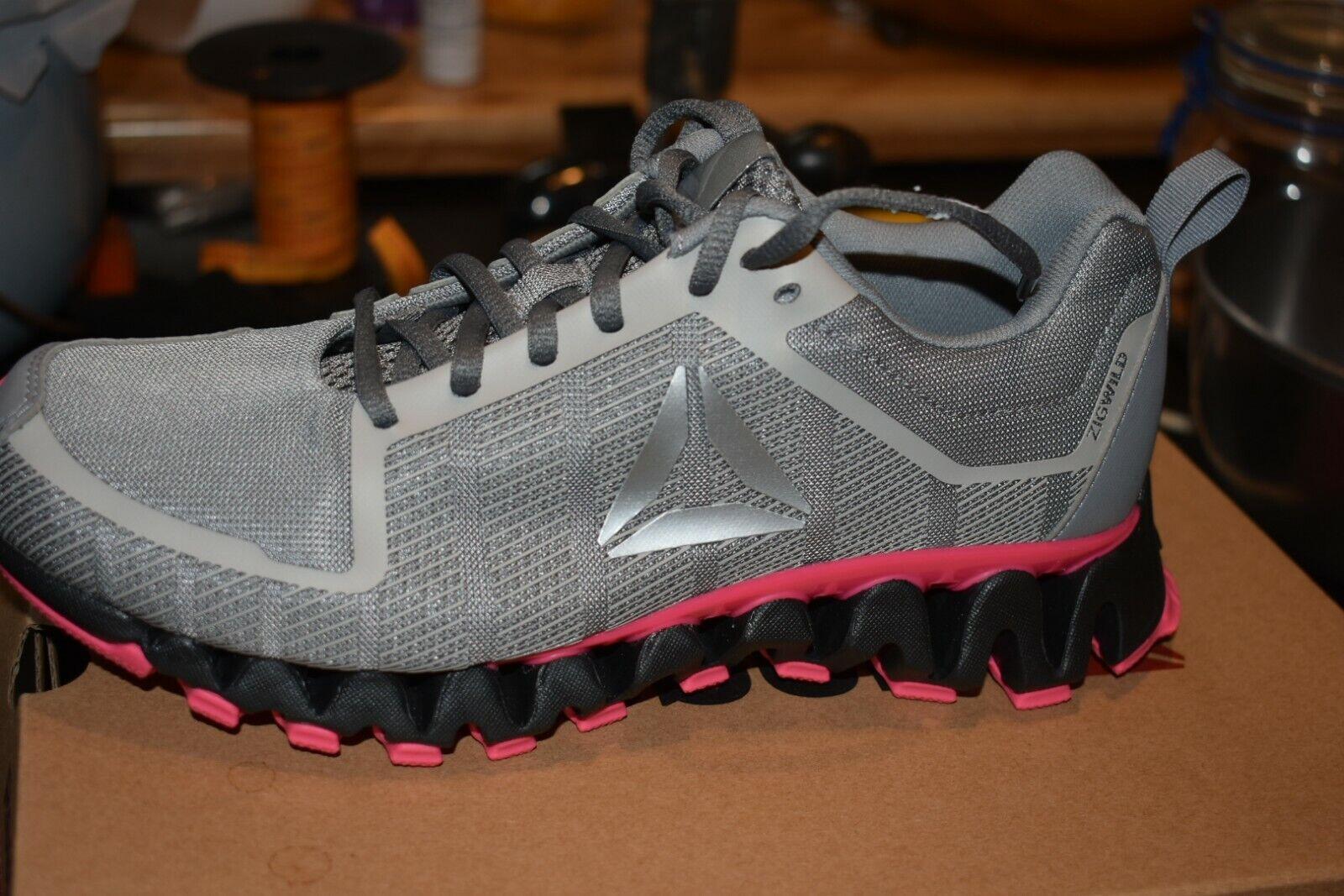 Reebok  Zig Tech Shark Women's Running shoes color STEEL  PINK Grey  fitness retailer